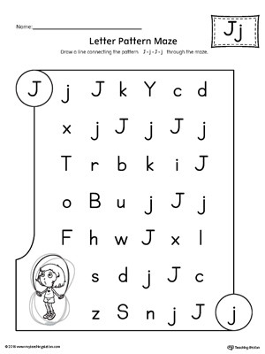 Letter J Worksheets Letter J Pattern Maze Worksheet