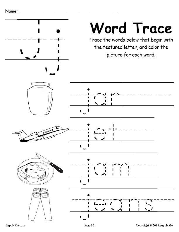 Letter J Worksheets Letter J Words Alphabet Tracing Worksheet