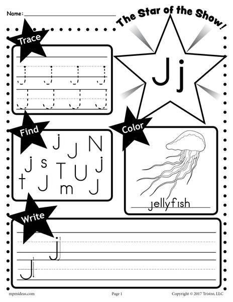 Letter J Worksheets Letter J Worksheet Tracing Coloring Writing & More