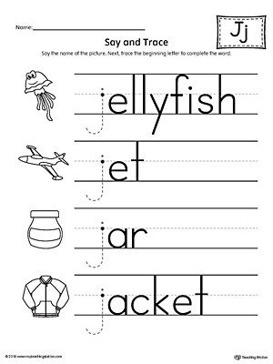 Letter J Worksheets Say and Trace Letter J Beginning sound Words Worksheet