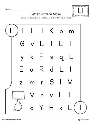 Letter L Worksheet Preschool Letter L Pattern Maze Worksheet