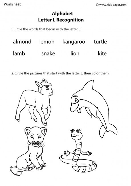 Letter L Worksheet Preschool Letter L Recognition Worksheet
