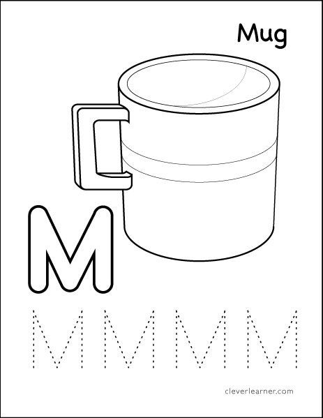 Letter M Worksheets for Preschoolers M is for Mug Colouring Sheets