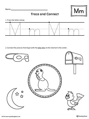 Letter M Worksheets for Preschoolers Trace Letter M and Connect Worksheet