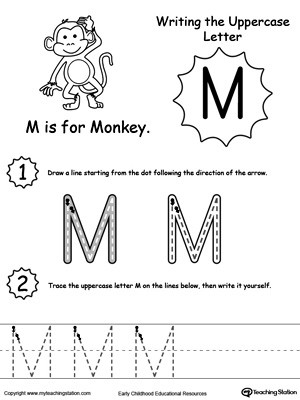 Letter M Worksheets for toddlers Writing Uppercase Letter M