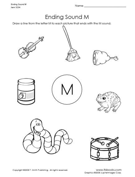 Letter M Worksheets Kindergarten Ending sound Of Letter M