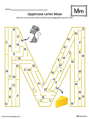Letter M Worksheets Kindergarten Uppercase Letter M Maze Worksheet Color