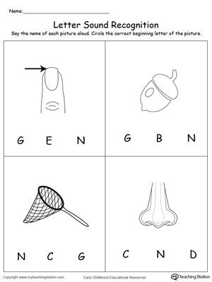 Letter N Preschool Worksheets Recognize the sound Of the Letter N