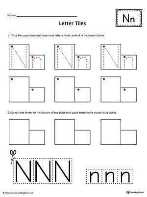 Letter N Tracing Worksheets Preschool Letter N Tracing and Writing Letter Tiles