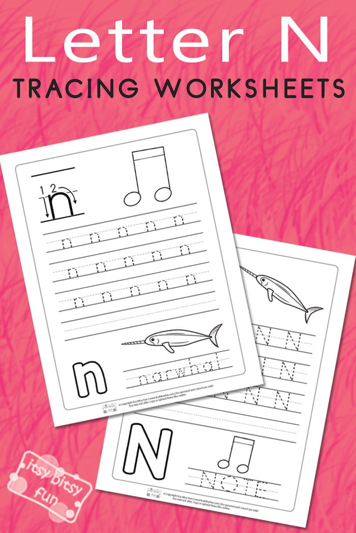Letter N Tracing Worksheets Preschool Letter N Tracing Worksheets Itsy Bitsy Fun