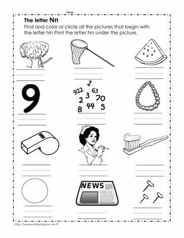 Letter N Worksheets for Kindergarten Color the N Worksheets