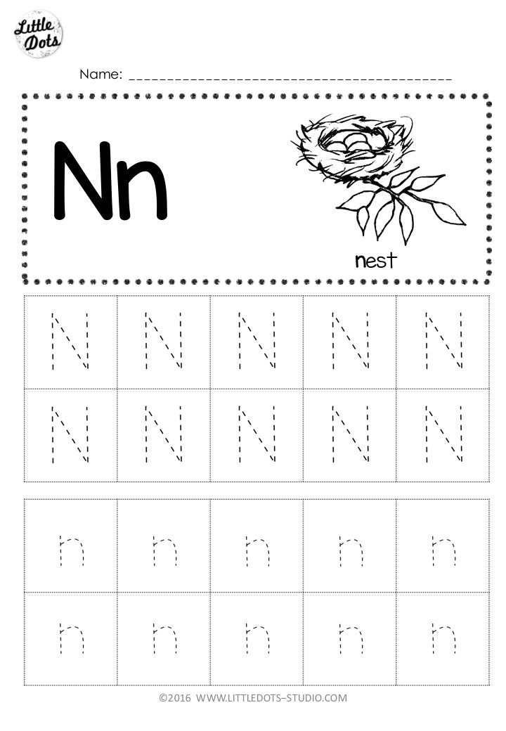 Letter N Worksheets for Kindergarten Free Letter N Tracing Worksheets