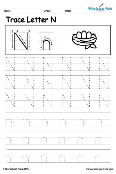Letter N Worksheets for Kindergarten Letter N Alphabet Tracing Worksheets Free Printable Pdf