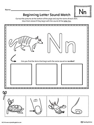 Letter N Worksheets for Kindergarten Letter N Beginning sound Picture Match Worksheet