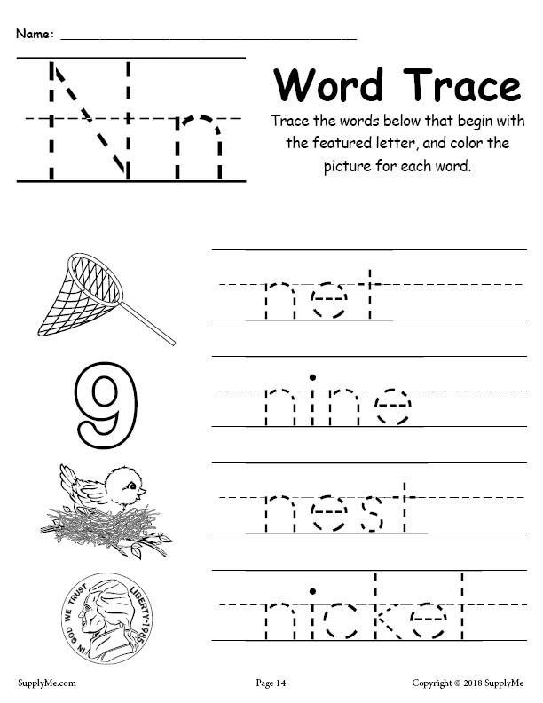 Letter N Worksheets for Kindergarten Letter N Words Alphabet Tracing Worksheet