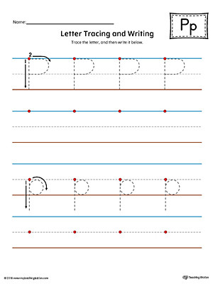 Letter P Tracing Worksheet Letter P Tracing and Writing Printable Worksheet Color