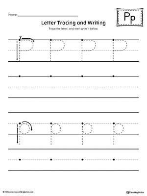 Letter P Tracing Worksheet Letter P Tracing and Writing Printable Worksheet