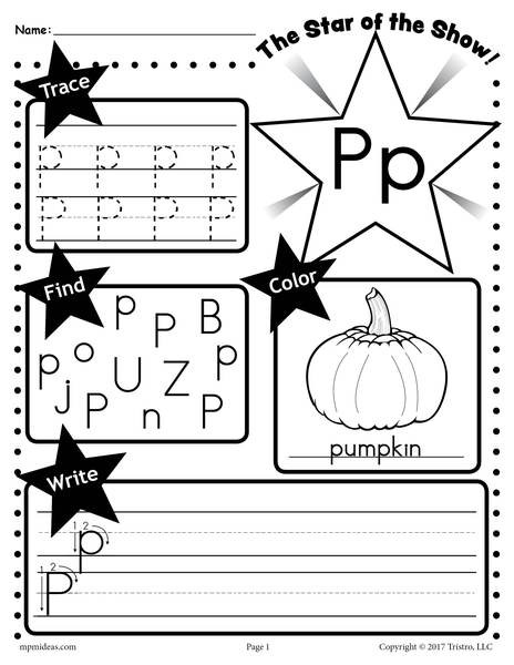 Letter P Tracing Worksheet Letter P Worksheet Tracing Coloring Writing & More