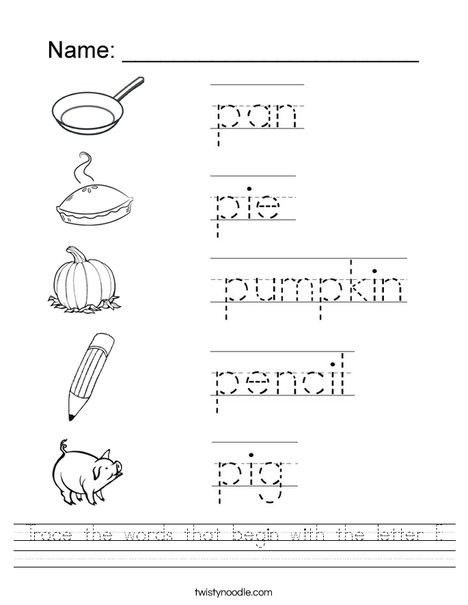 Letter P Tracing Worksheet Trace the Words that Begin with the Letter P Worksheet