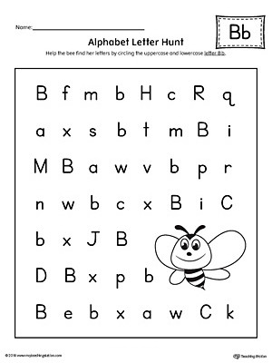 Letter Recognition Worksheets for Kindergarten Alphabet Letter Hunt Letter B Worksheet
