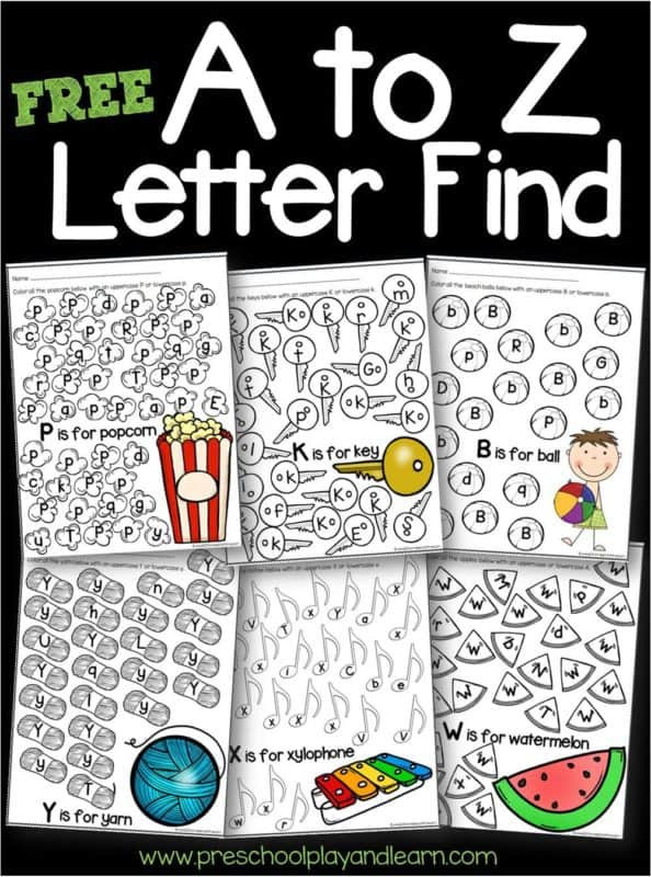 Letter Recognition Worksheets for Kindergarten Free A to Z Letter Find Worksheets