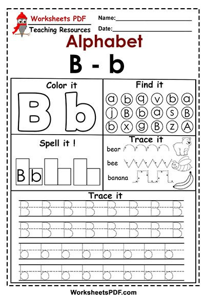 Letter Tracing Worksheets Pdf Letter B – B Activities – Free Printables Worksheets Pdf