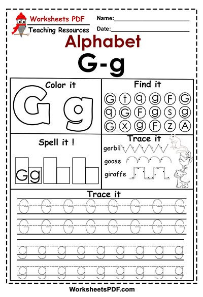Letter Tracing Worksheets Pdf Letter G G Activities – Free Printables Worksheets Pdf