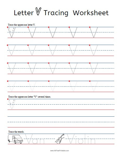 Letter Tracing Worksheets Pdf Letter V Tracing Worksheets Free Printable