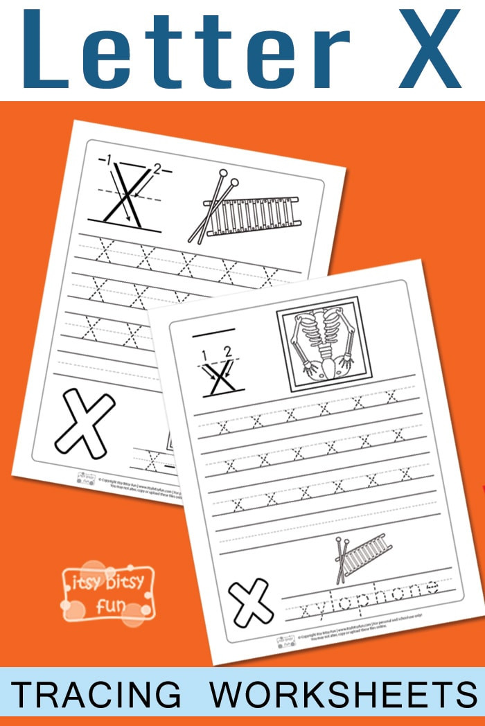 Letter X Worksheets for Preschoolers Letter X Tracing Worksheets Itsy Bitsy Fun