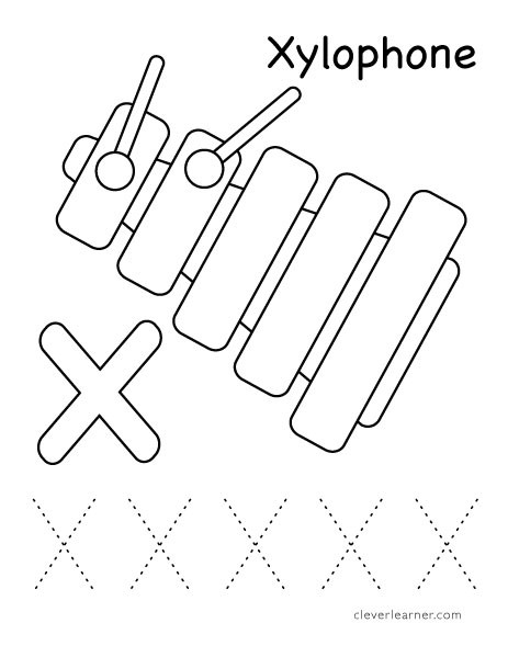 Letter X Worksheets for Preschoolers Letter X Writing and Coloring Sheet