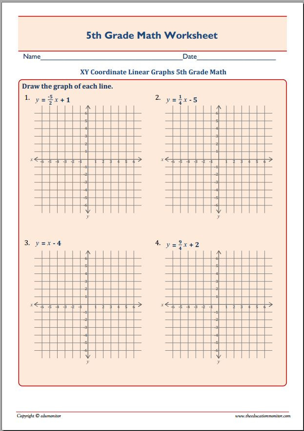 Line Graph Worksheet 5th Grade Xy Coordinate Linear Graphs 5th Grade Math Edumonitor