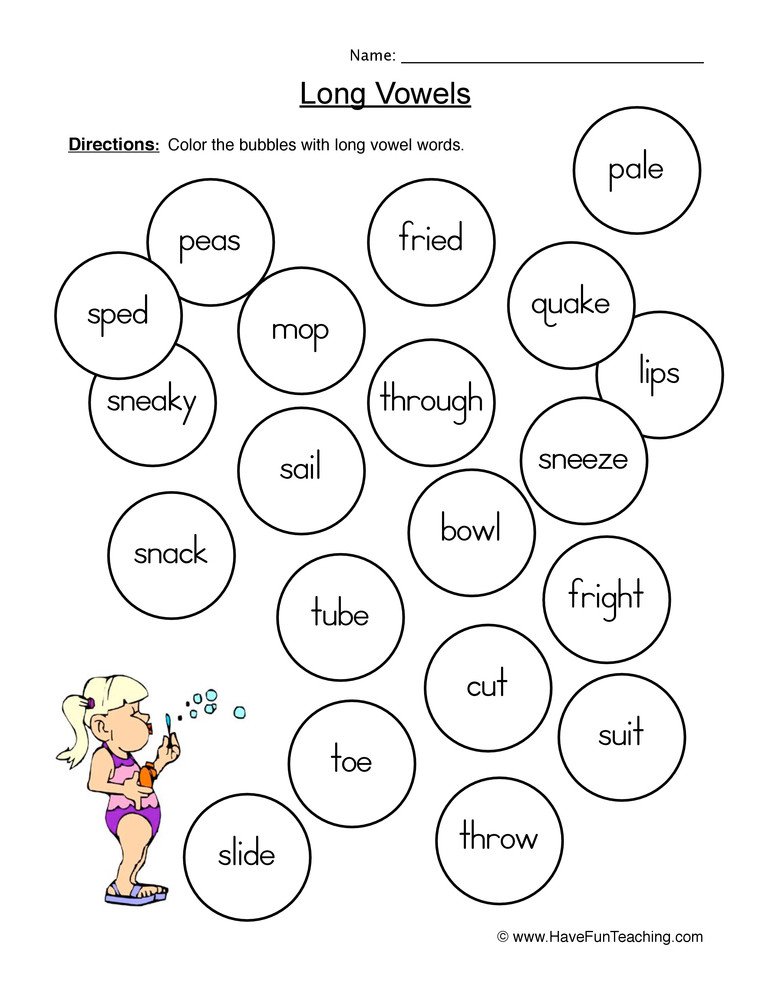 Long Vowels Worksheets First Grade Long Vowels Coloring Worksheet