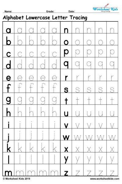 Lowercase Letter Tracing Worksheet Lowercase Alphabet Tracing Worksheets Free Printable Pdf