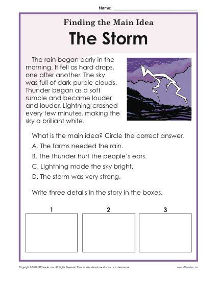 Main Idea 2nd Grade Worksheet 1st or 2nd Grade Main Idea Worksheet About Storms