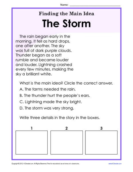 Main Idea 2nd Grade Worksheet Main Idea A Story Worksheet Worksheets