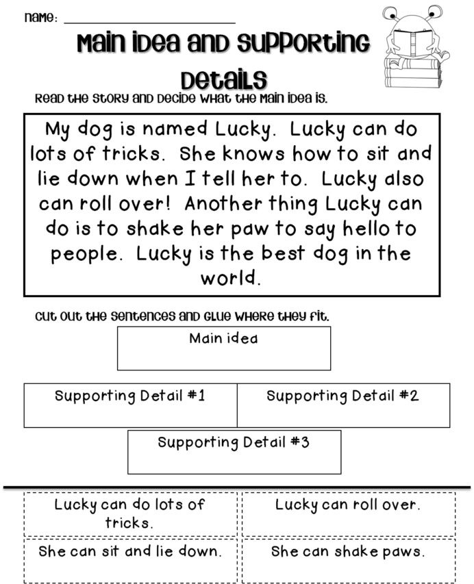 Main Idea 2nd Grade Worksheet Main Idea Worksheets 2nd Grade Printable and for Free
