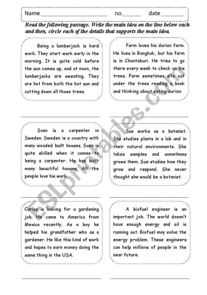 Main Idea 3rd Grade Worksheets Main Idea Supporting Details Esl Worksheet by Shamus and