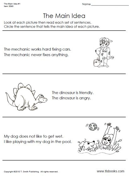 Main Idea Worksheets Grade 1 First Grade Main Idea Worksheets – Mreichert Kids Worksheets