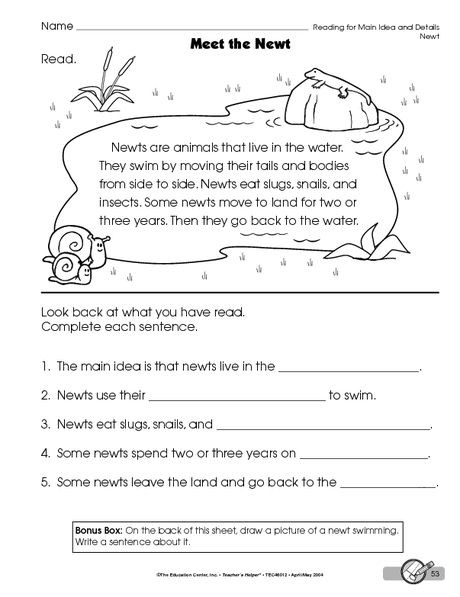 Main Idea Worksheets Grade 1 Main Idea and Details Worksheet for Reading Groups
