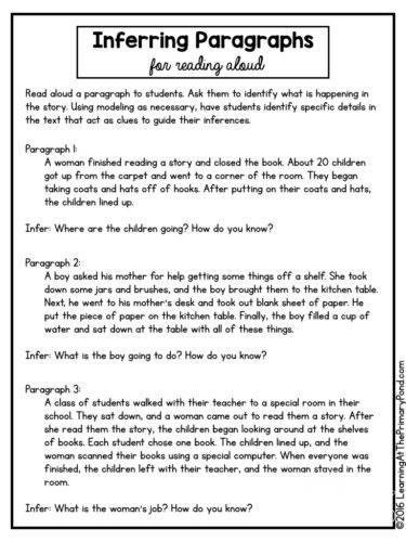 Making Inference Worksheets 4th Grade 5 Activities Lessons and Ideas for Teaching Inferring In