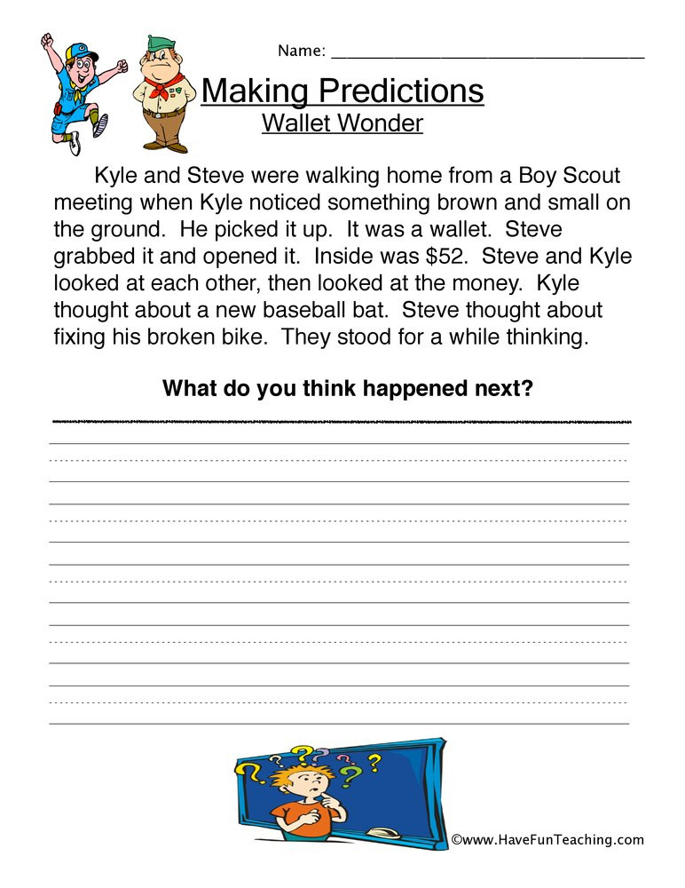 Making Predictions Worksheet 2nd Grade Predictions Lessons Tes Teach