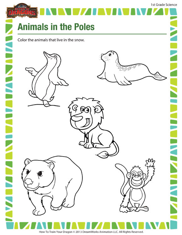 Mammal Worksheets First Grade Animals In the Poles – Free 1st Grade Science Worksheet