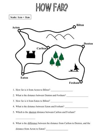 Map Scale Worksheet 4th Grade Map Work
