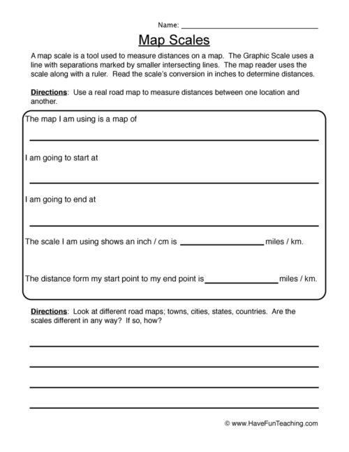 Map Scale Worksheet 4th Grade Maps Worksheets • Have Fun Teaching