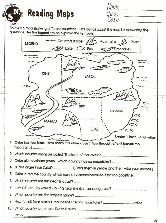 Map Scale Worksheet 4th Grade Reading Worksheets Grade 6th social Stu S Map Symbols