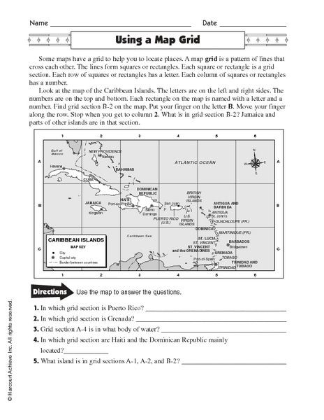 Map Scale Worksheet 4th Grade Using A Map Grid Worksheet for 4th 7th Grade