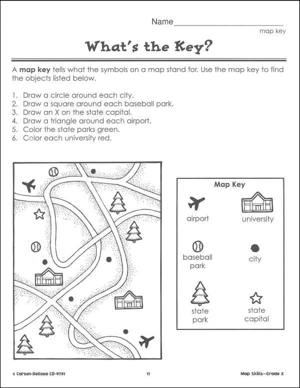 Map Worksheet 2nd Grade Pin Map Skills 2 Bs Amp B Additional Inside Page On
