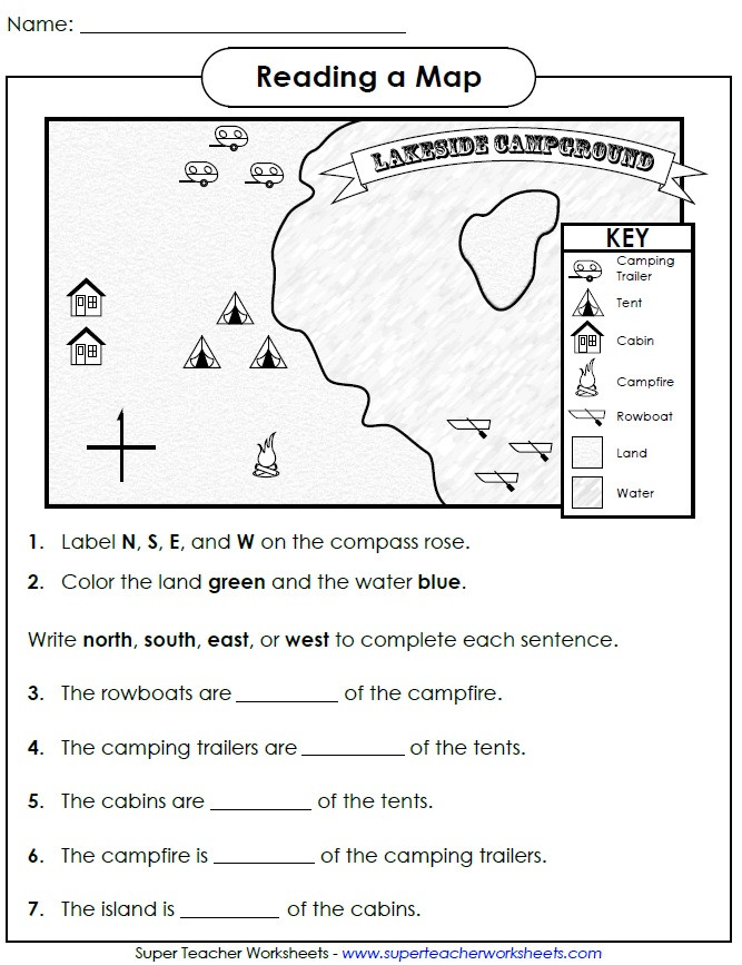 Map Worksheet 2nd Grade Reading A Map Cardinal Directions
