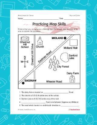 Map Worksheets for 2nd Grade Practicing Map Skills Printable Geography 2nd 4th Grade