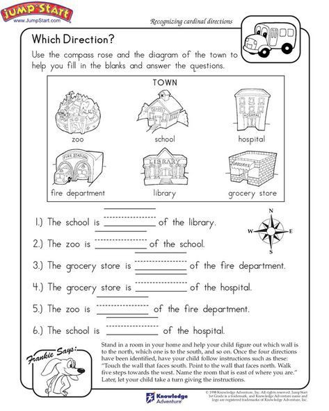 Map Worksheets for 2nd Grade which Direction Printable Worksheet for Kids